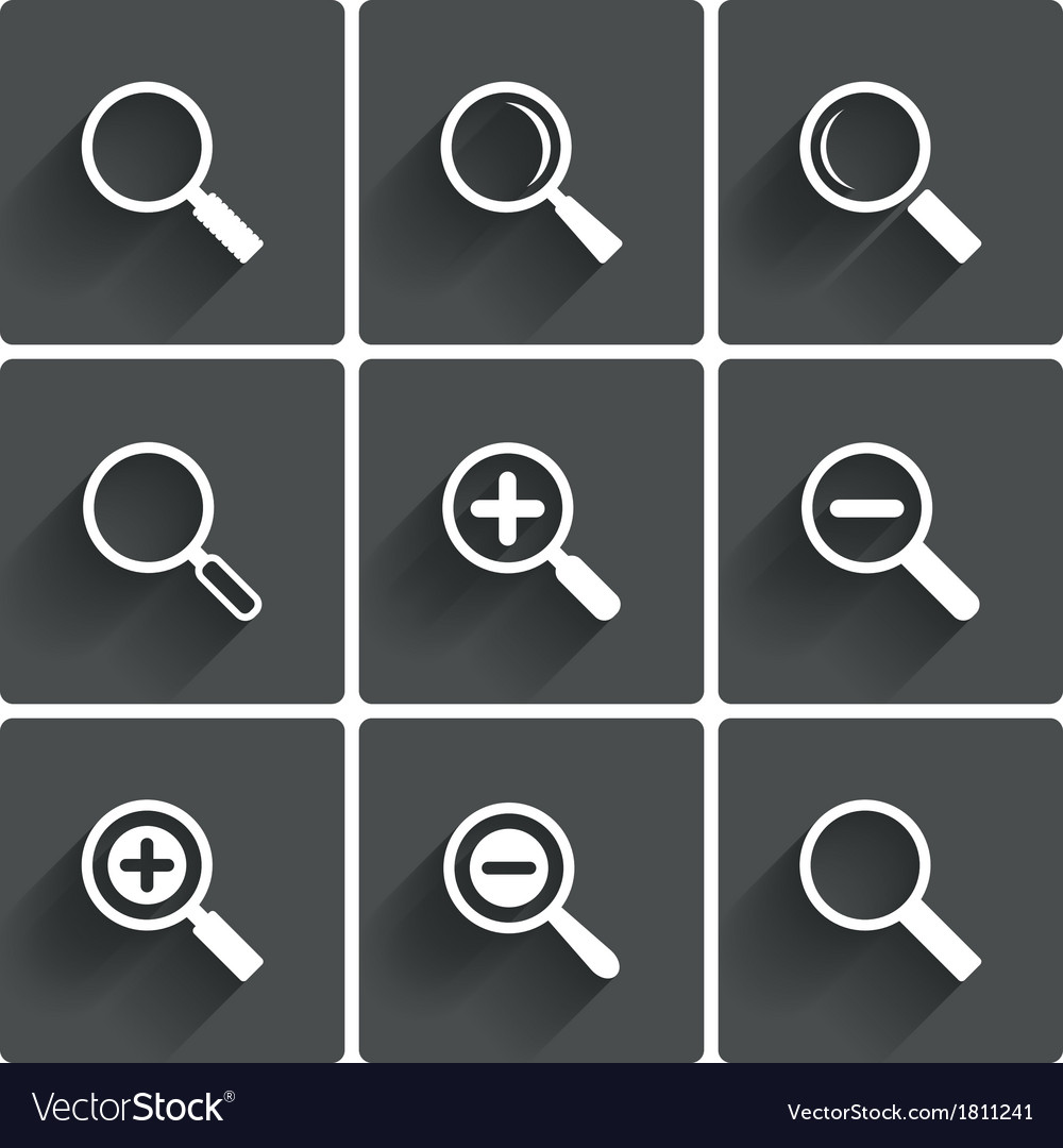 Zoom icons search symbols magnifier glass signs vector | Price: 1 Credit (USD $1)