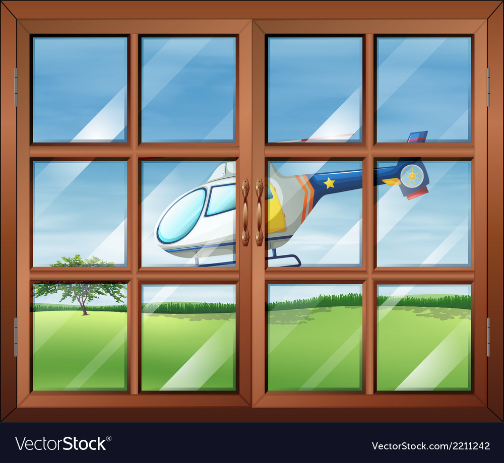 A closed window and the chopper outside vector | Price: 1 Credit (USD $1)