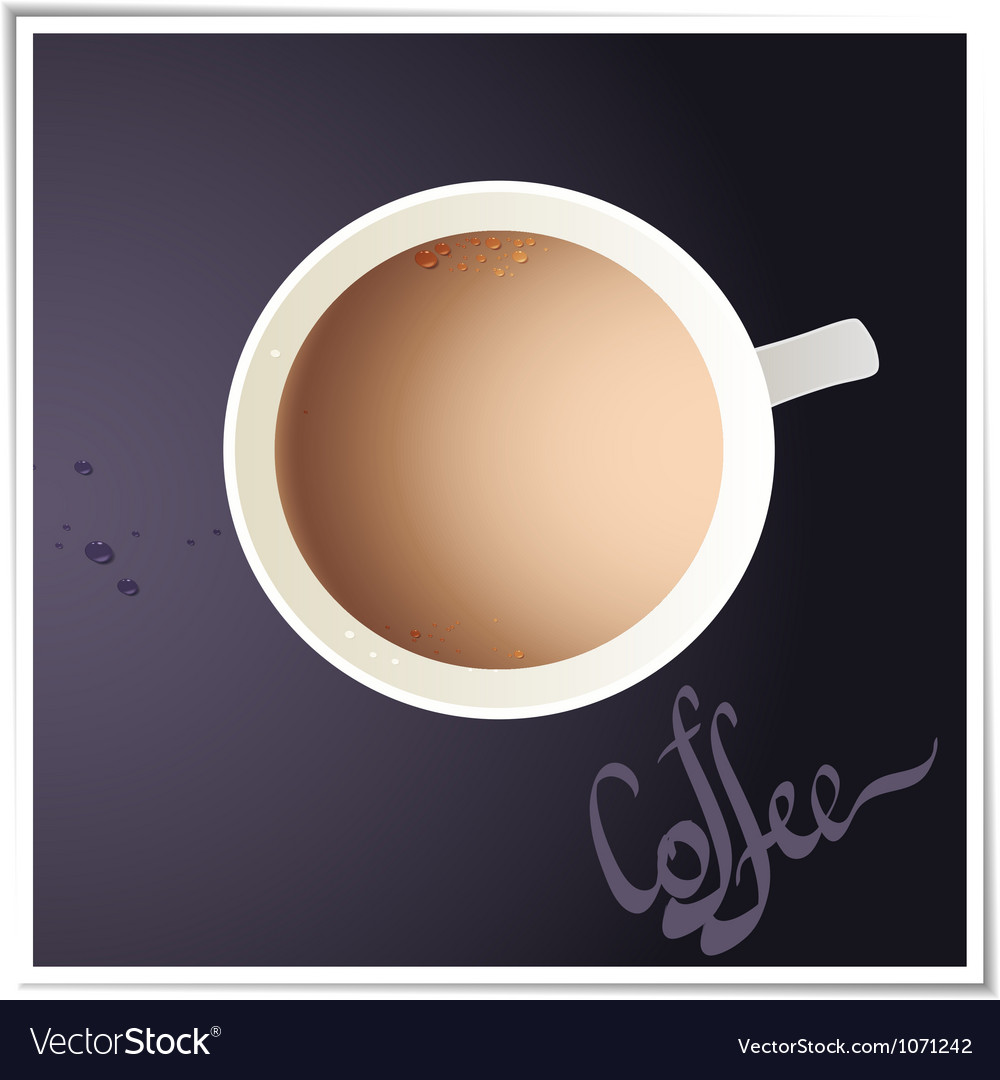 Coffee cup with world map on background top view vector | Price: 1 Credit (USD $1)