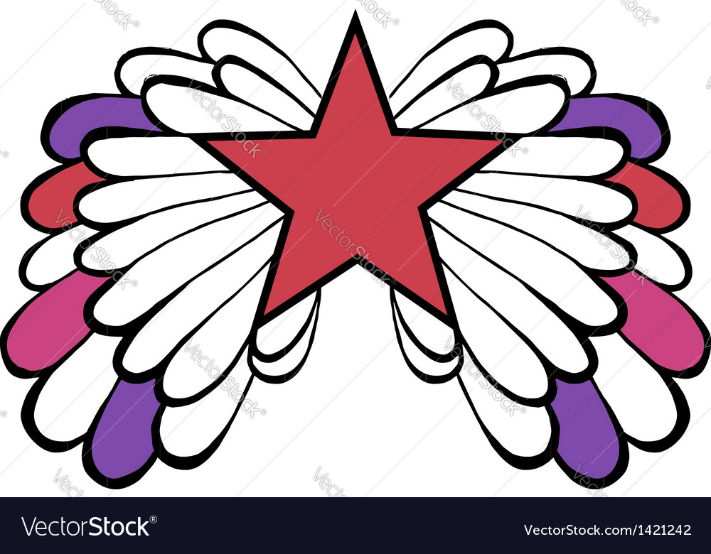 Colored winged red pop star vector | Price: 1 Credit (USD $1)
