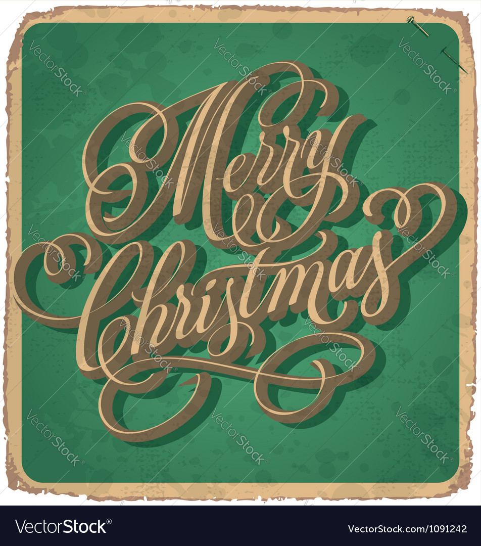 Hand-lettered vintage christmas card vector | Price: 1 Credit (USD $1)