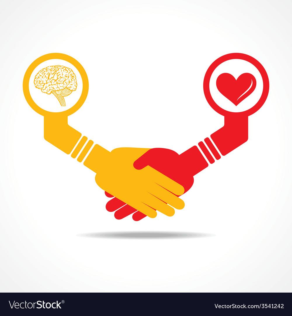 Handshake between men having brain and heart vector | Price: 1 Credit (USD $1)