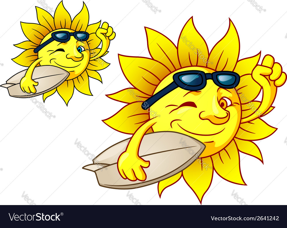 Hot surfing sun with sunglasses vector | Price: 1 Credit (USD $1)