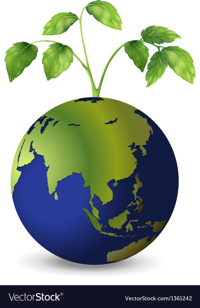 Planet earth growing plants vector | Price: 1 Credit (USD $1)