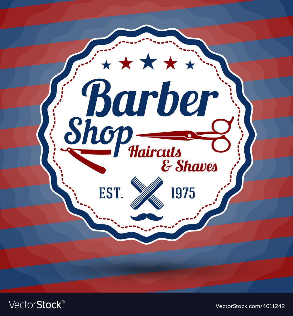Retro stylized sign for barber shop on vector | Price: 1 Credit (USD $1)