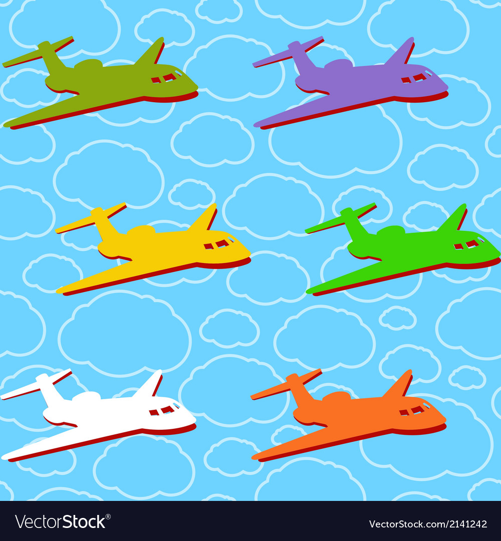 Seamless background with airplanes vector | Price: 1 Credit (USD $1)