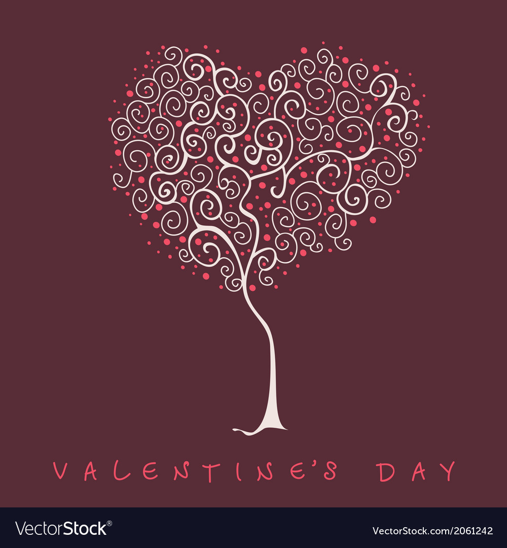 Stylized tree valentines day card vector | Price: 1 Credit (USD $1)