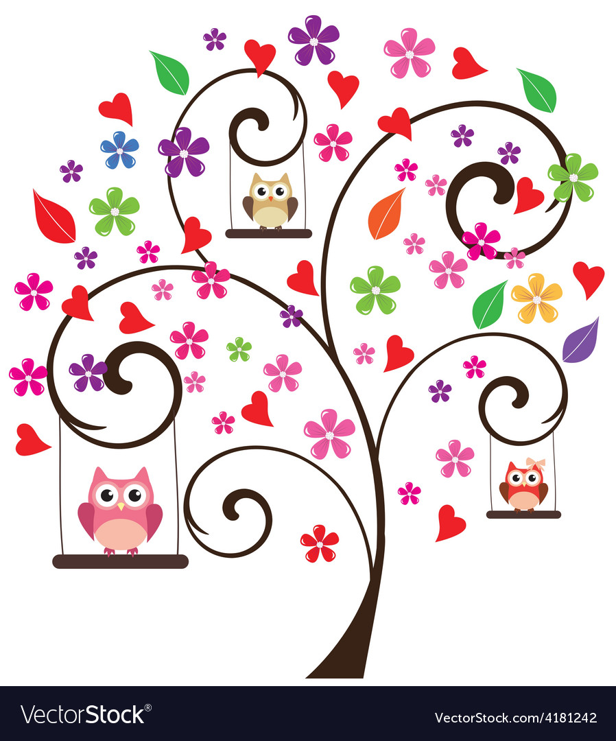 Tree floral owl 3 vector | Price: 1 Credit (USD $1)