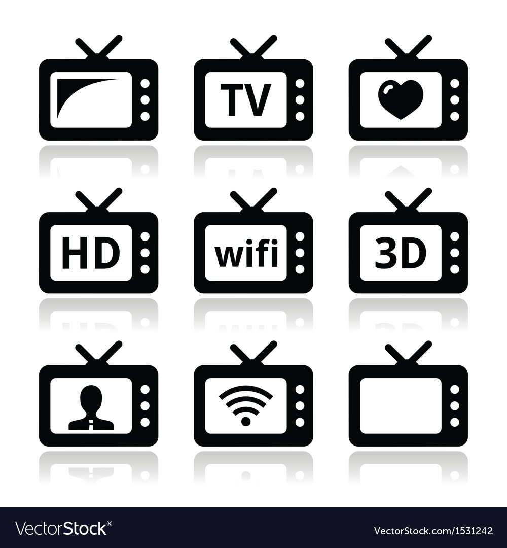 Tv set 3d hd icons vector | Price: 1 Credit (USD $1)