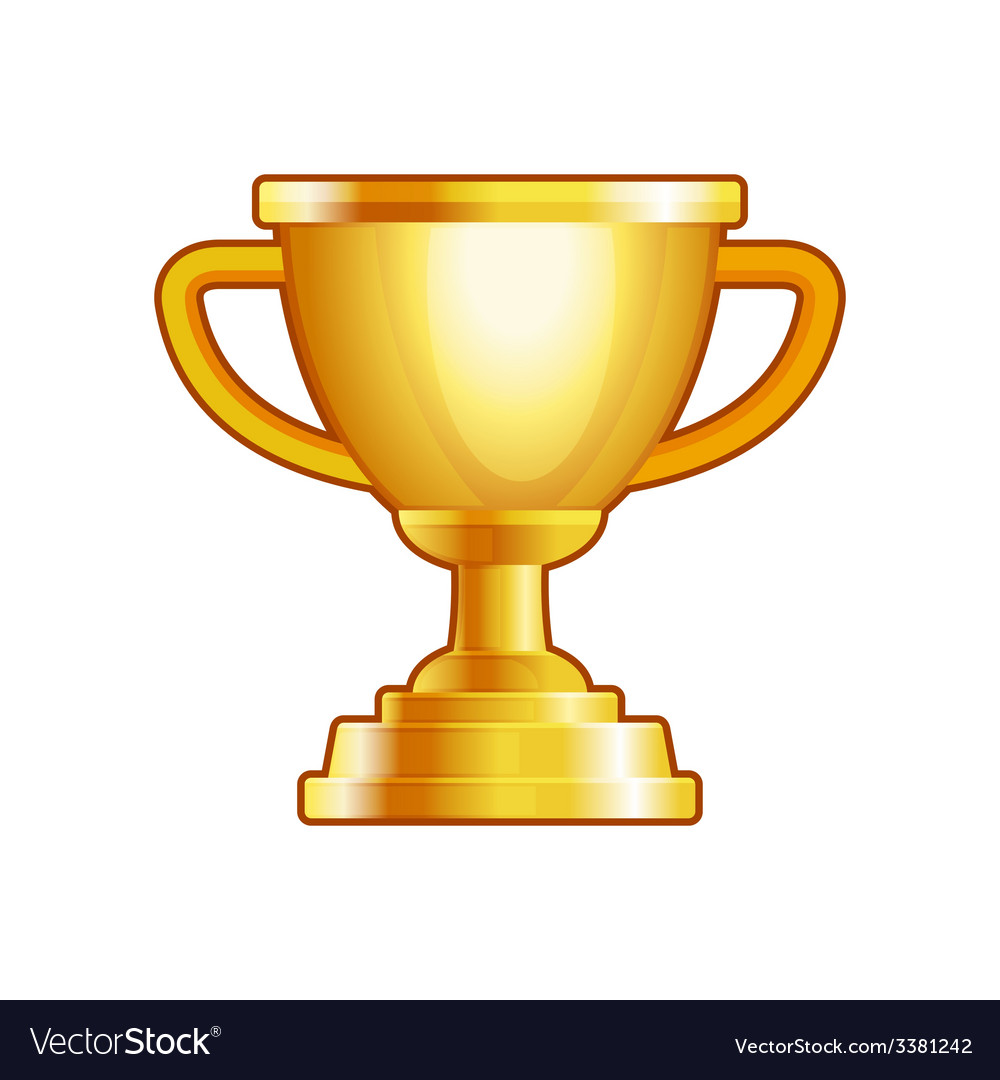 Winner gold cup on white background vector | Price: 1 Credit (USD $1)