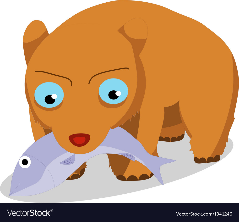 Bears eat fish vector | Price: 1 Credit (USD $1)