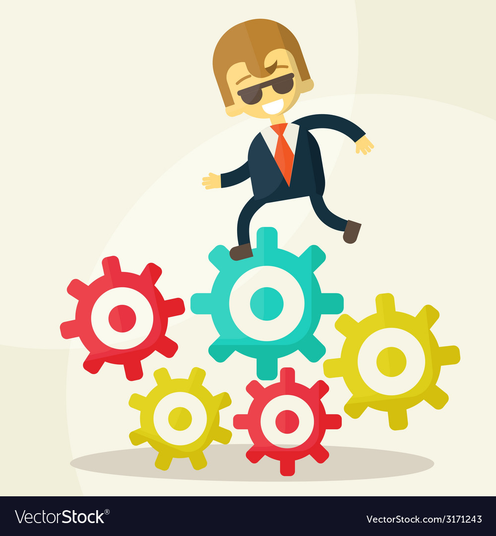 Businessman goes to success and gears vector | Price: 1 Credit (USD $1)
