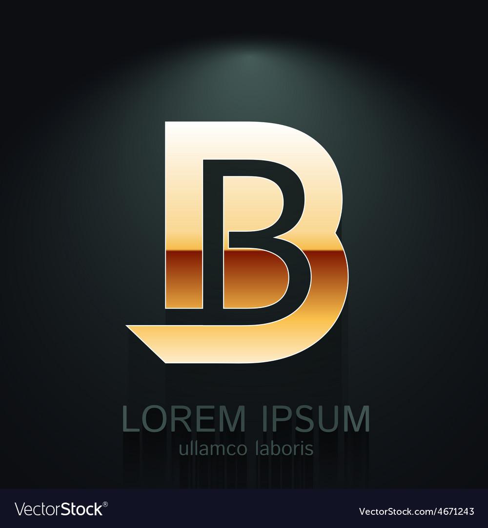 Graphic elegant gold letter b vector | Price: 1 Credit (USD $1)