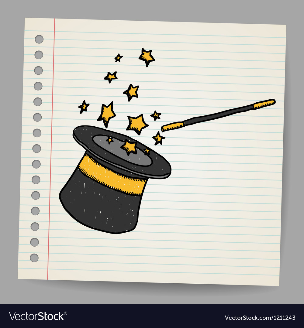 Magic hat with magic wand sketch vector | Price: 1 Credit (USD $1)