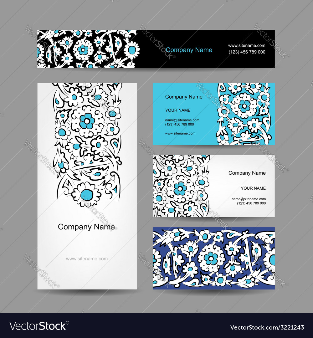 Set of business cards design turkish ornament vector | Price: 1 Credit (USD $1)