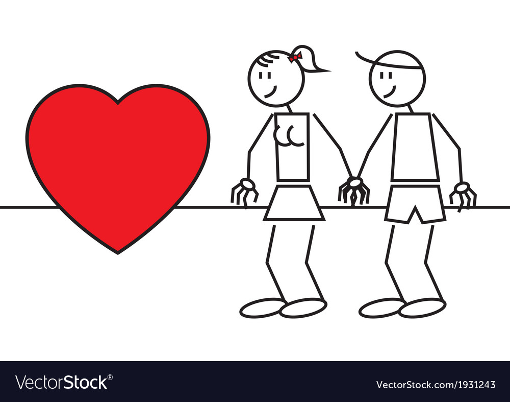 Stick figures couple in love vector   Price: 1 Credit (USD $1)