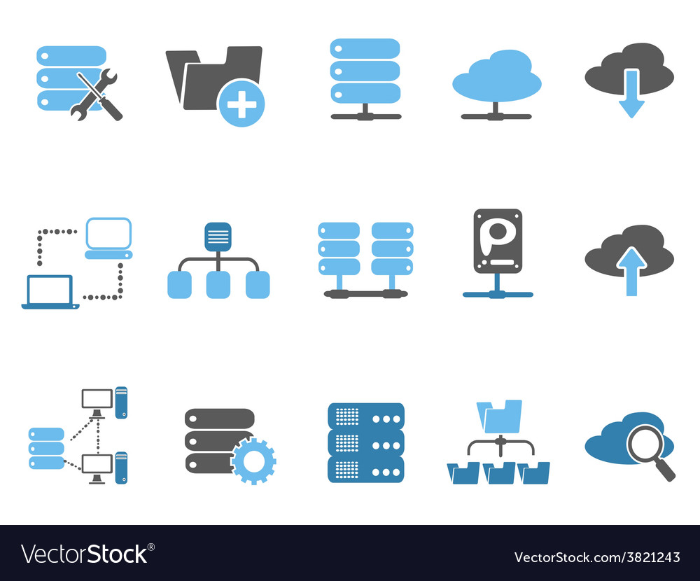 Web host icons set blue series vector | Price: 1 Credit (USD $1)