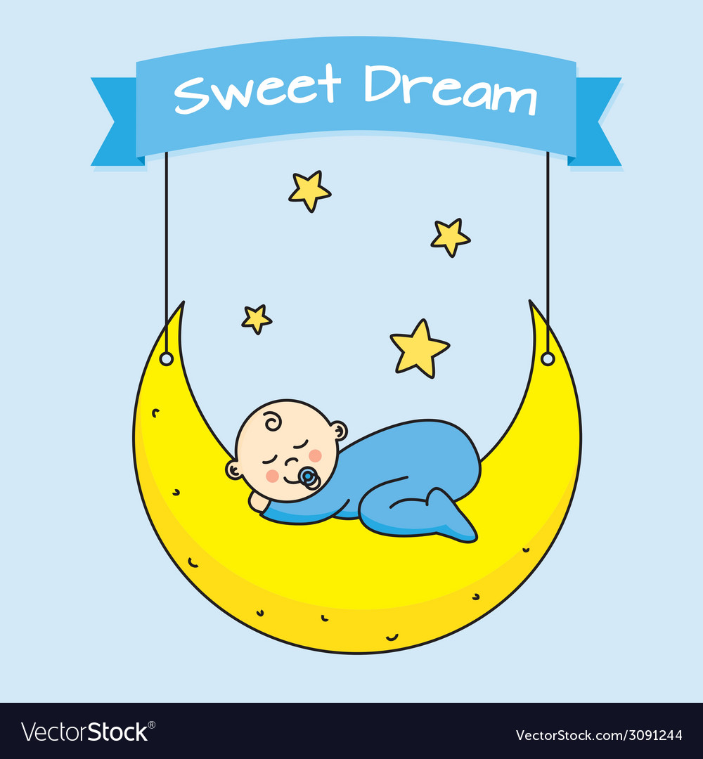 Baby boy sleeping on the moon vector | Price: 1 Credit (USD $1)