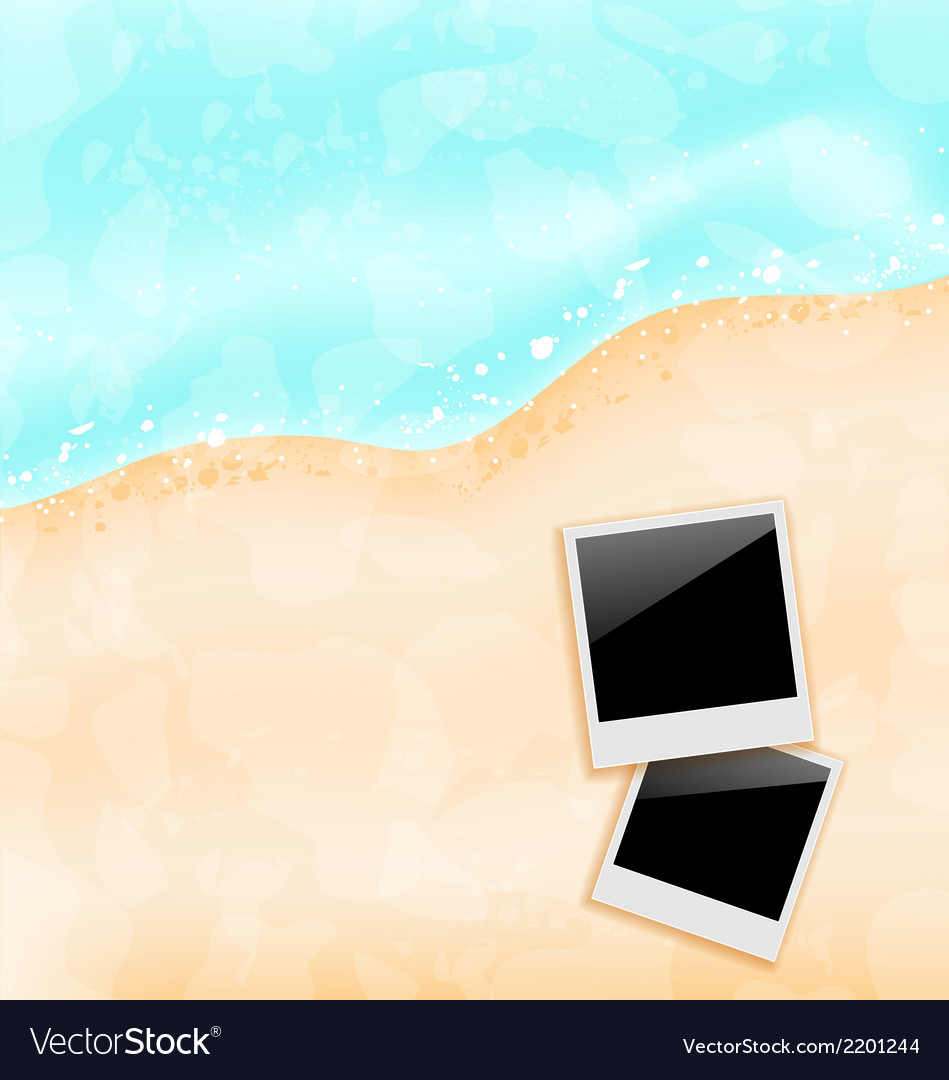 Beach background with set photo frames vector | Price: 1 Credit (USD $1)