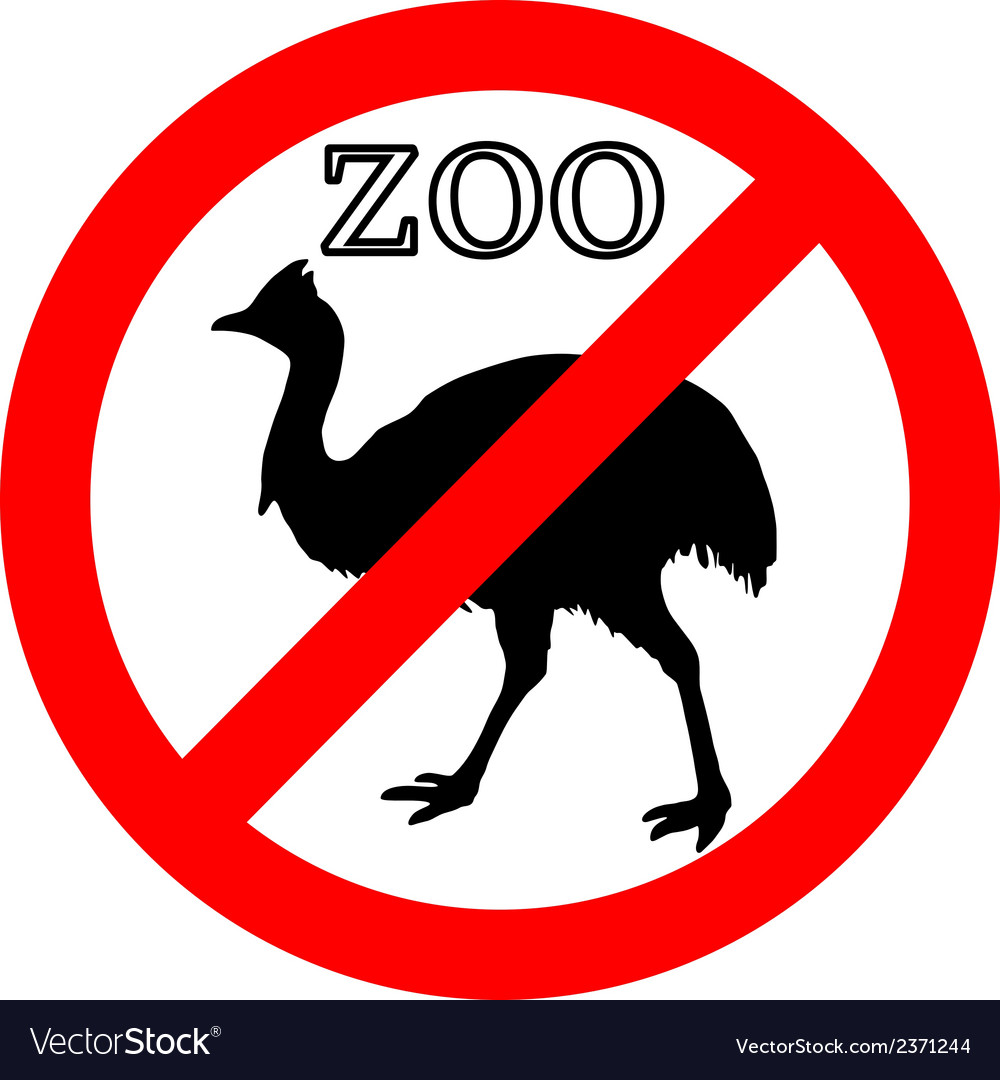 Cassowary in zoo prohibited vector | Price: 1 Credit (USD $1)