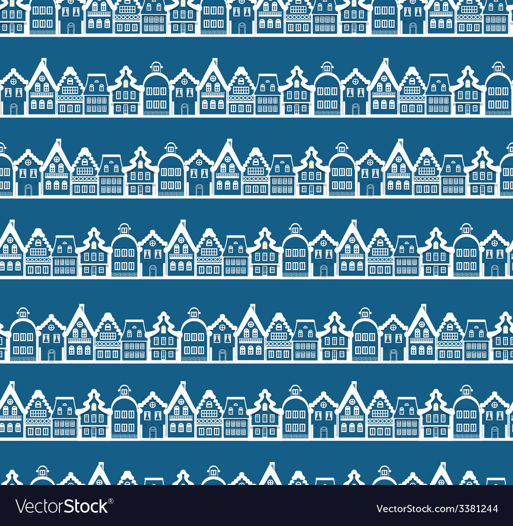 Christmas greeting card vintage buildings seamless vector
