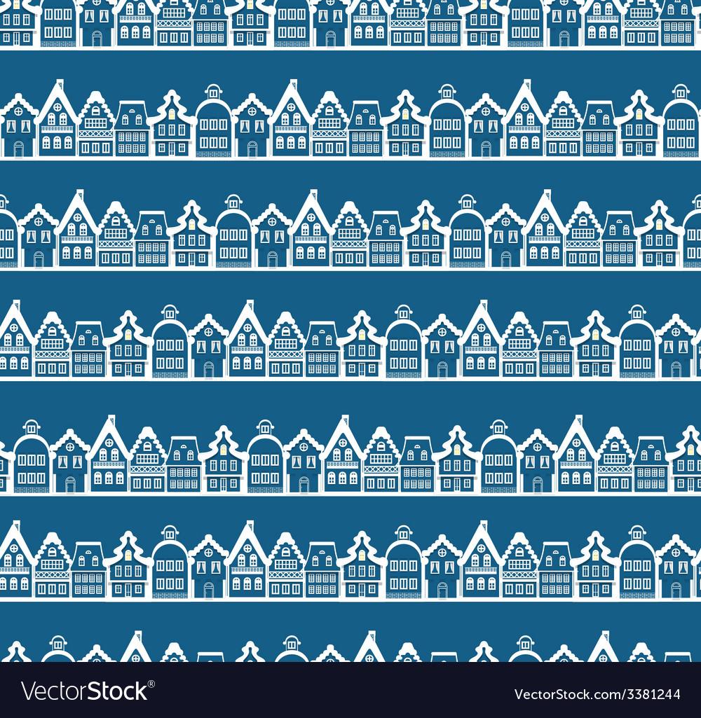 Christmas greeting card vintage buildings seamless vector | Price: 1 Credit (USD $1)