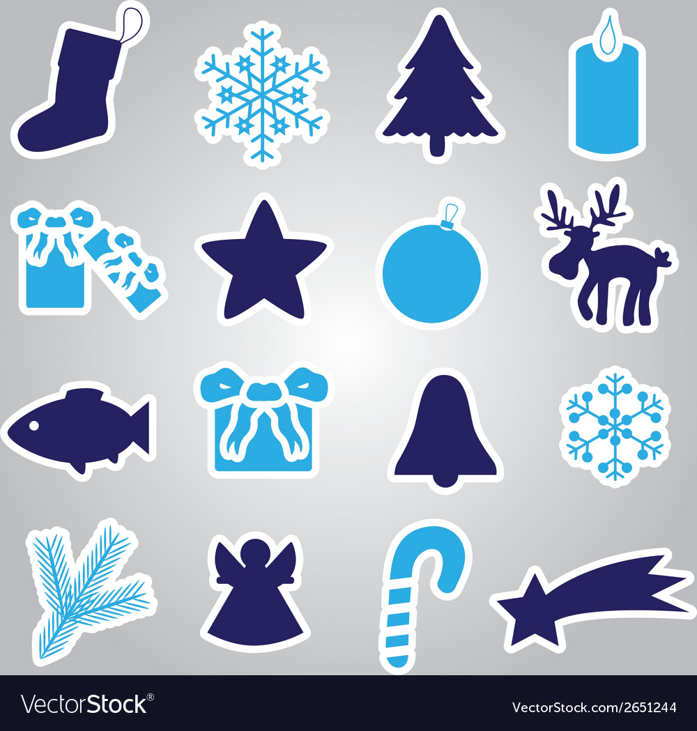 Christmas icon stickers collection eps10 vector | Price: 1 Credit (USD $1)