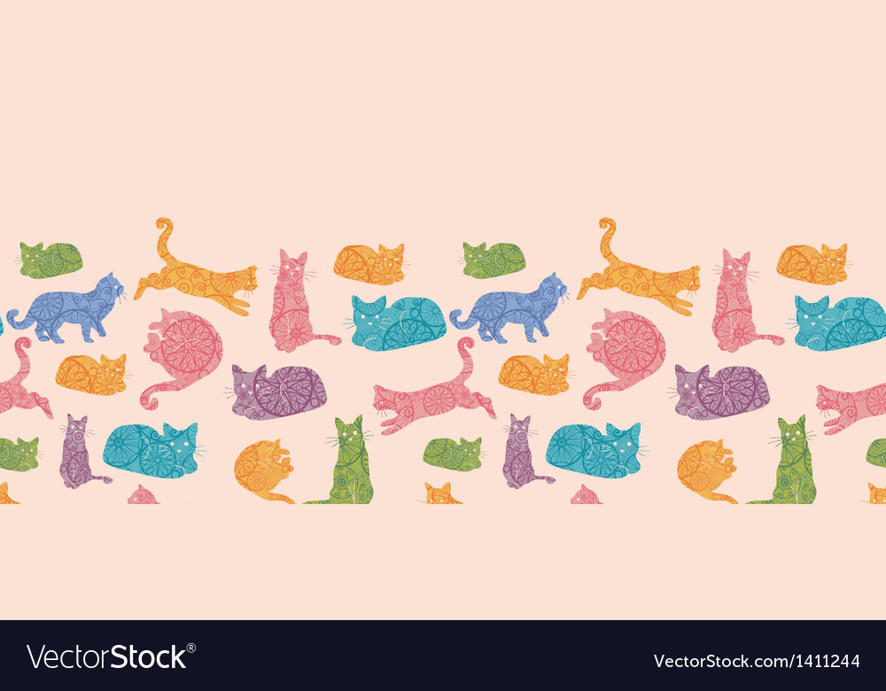 Colorful cats silhouettes horizontal seamless vector | Price: 1 Credit (USD $1)