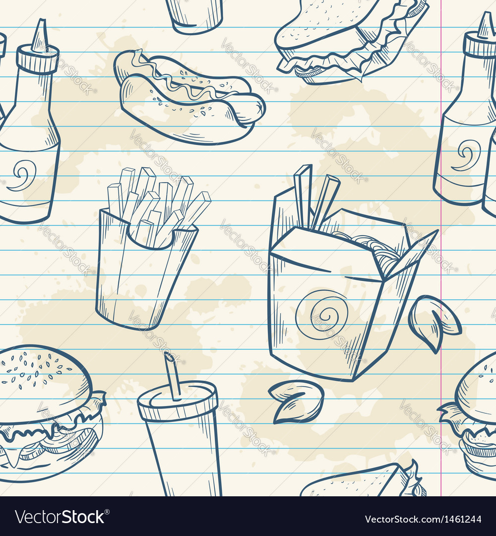 Fastfood delicious hand drawn seamless pattern vector | Price: 1 Credit (USD $1)