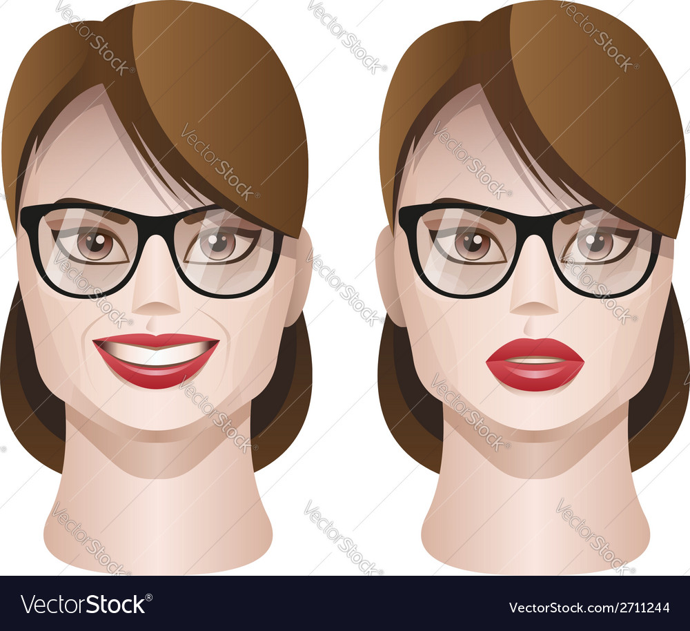Female faces with glasses vector | Price: 1 Credit (USD $1)