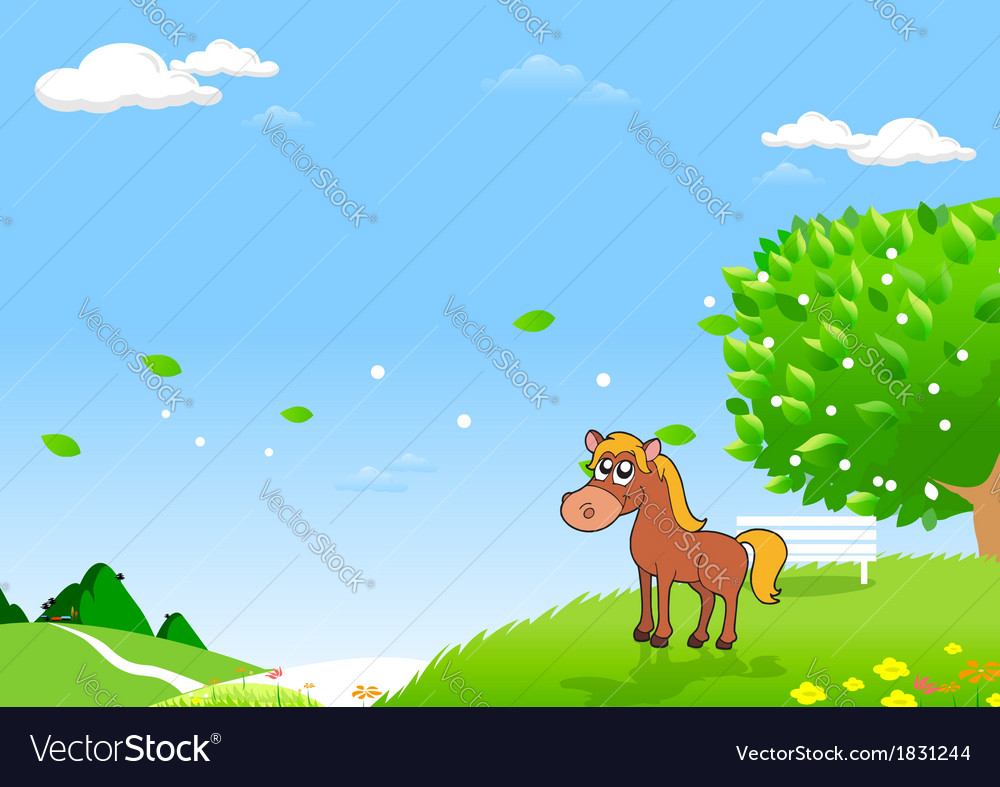 Horses in the field vector | Price: 1 Credit (USD $1)