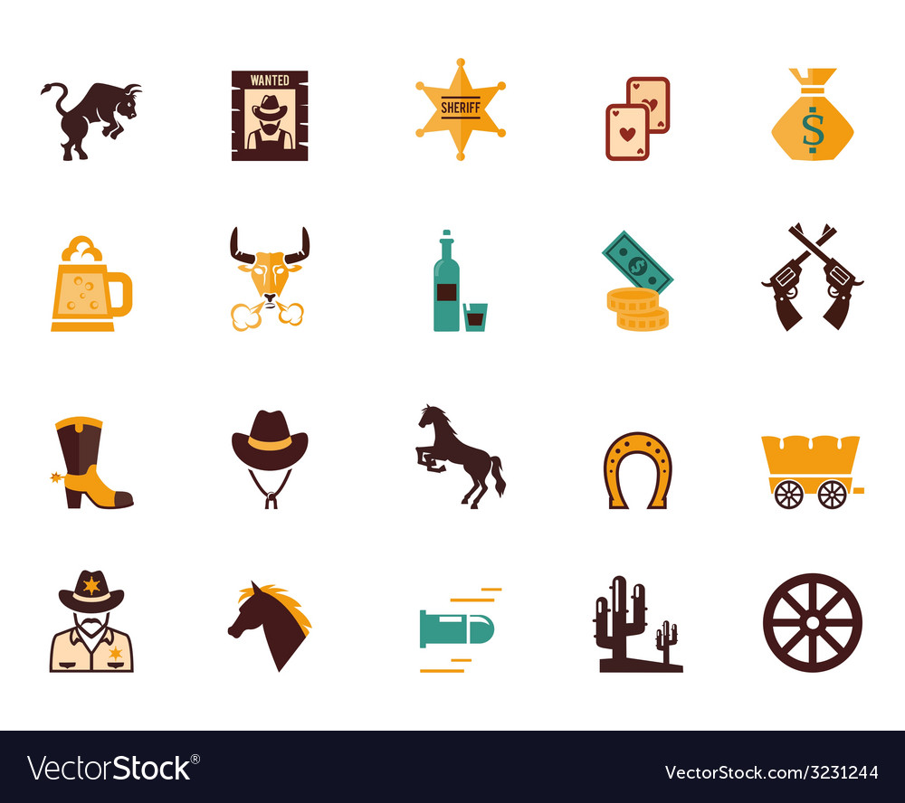 Large set of western flat icons vector | Price: 1 Credit (USD $1)