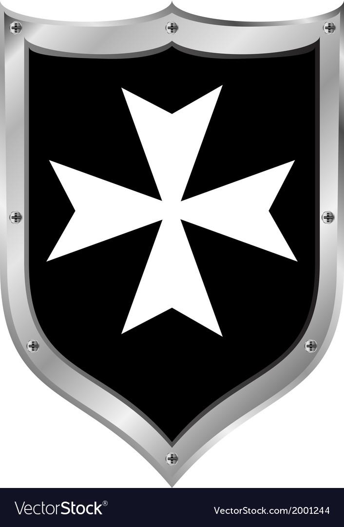 Medieval shield hospitaller order vector | Price: 1 Credit (USD $1)