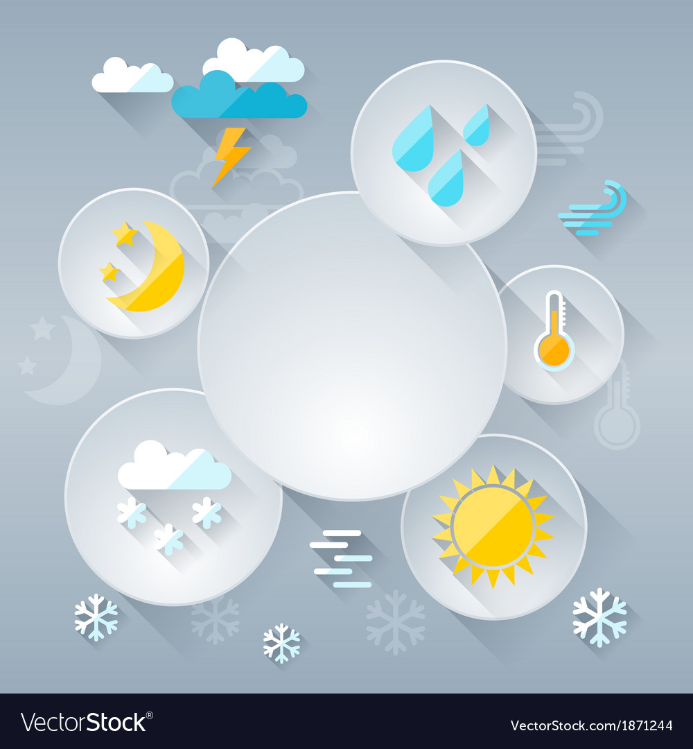 Paper circle banner with weather icons in flat vector   Price: 1 Credit (USD $1)