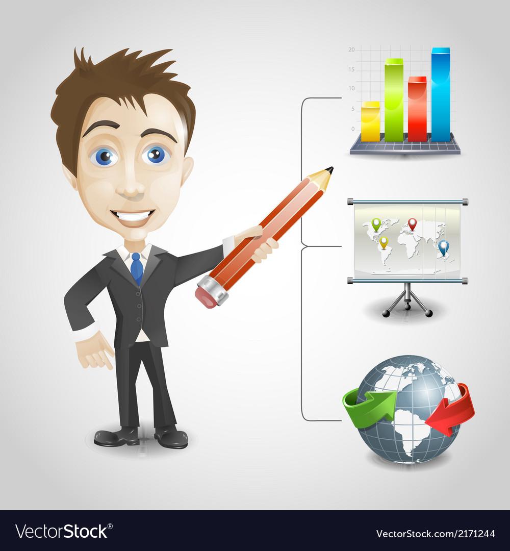 Presentation businessman vector | Price: 1 Credit (USD $1)