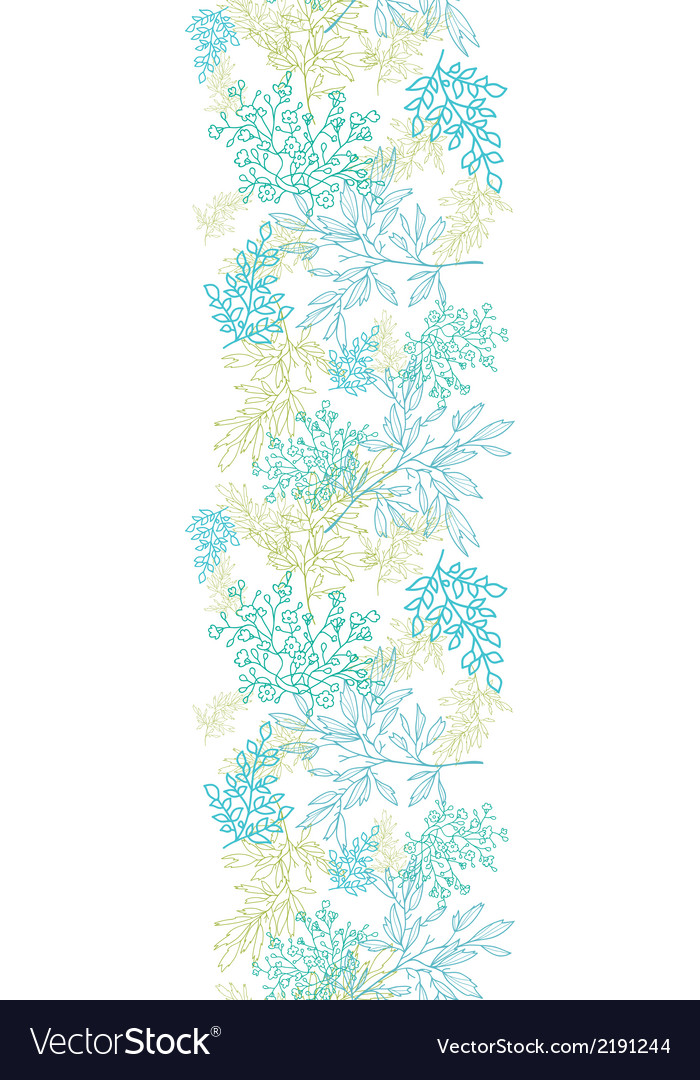 Scattered blue green branches vertical seamless vector | Price: 1 Credit (USD $1)