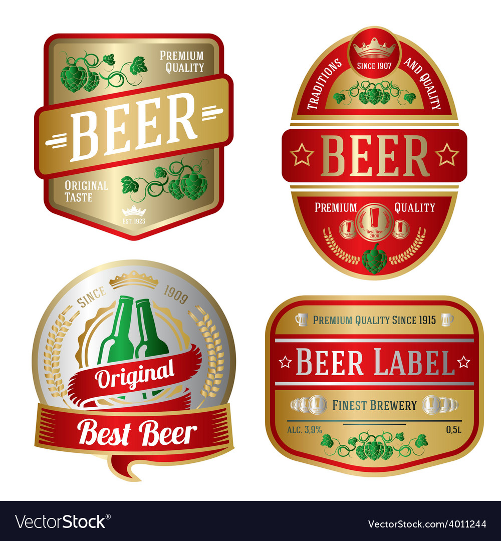 Set of bright beer labels different shapes vector | Price: 3 Credit (USD $3)