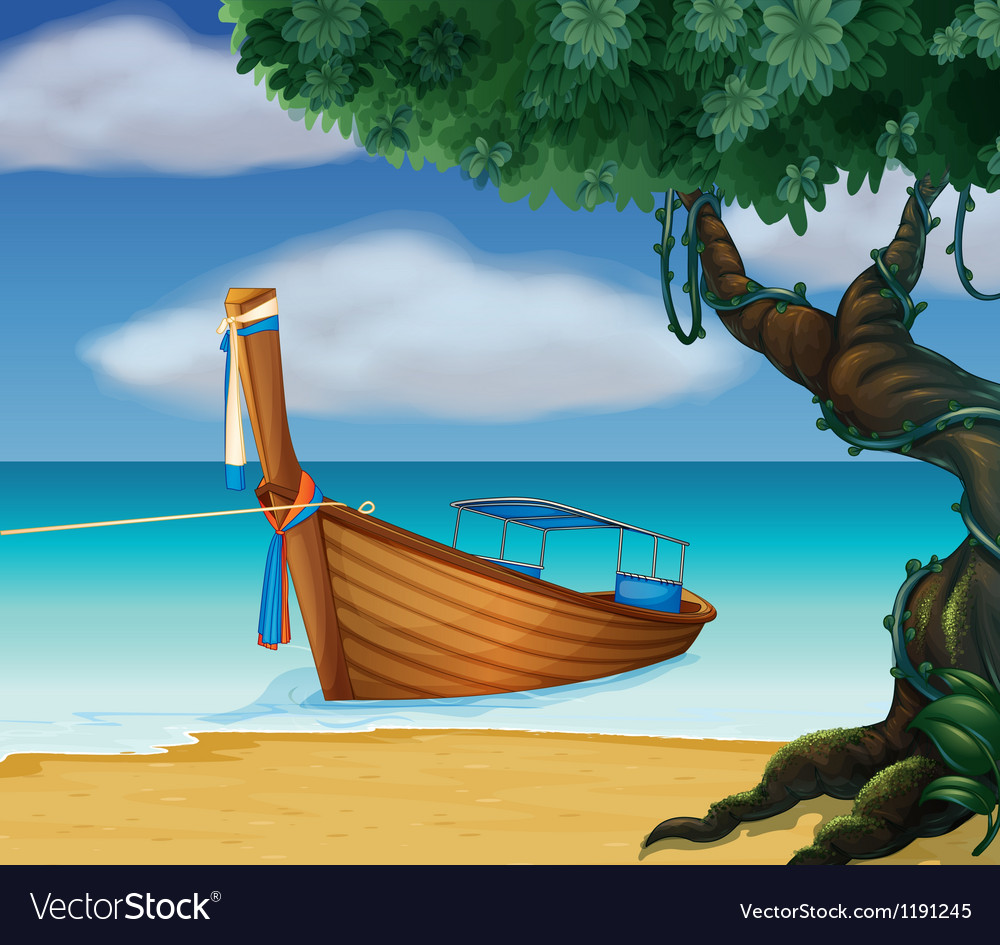 A wooden boat at the seashore vector | Price: 1 Credit (USD $1)