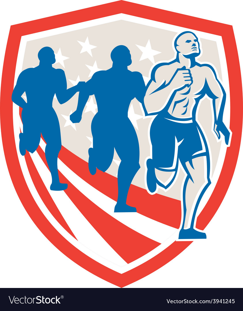 American crossfit runners usa flag retro vector | Price: 1 Credit (USD $1)