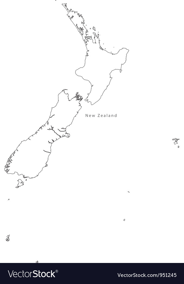 Black white new zealand outline map vector | Price: 1 Credit (USD $1)