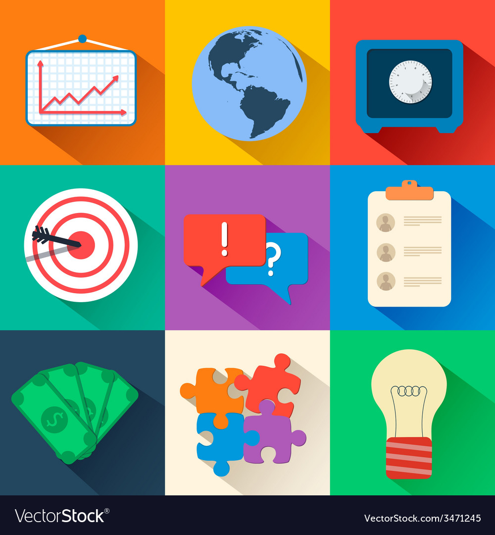 Business flat icons for infographic design vector | Price: 1 Credit (USD $1)
