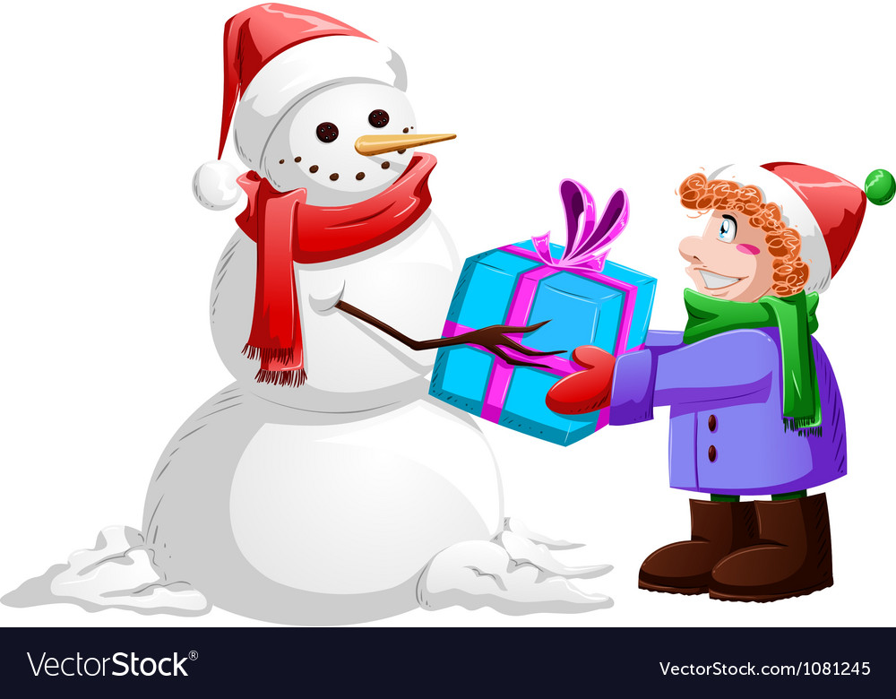 Christmas snowman gives present to boy vector | Price: 3 Credit (USD $3)