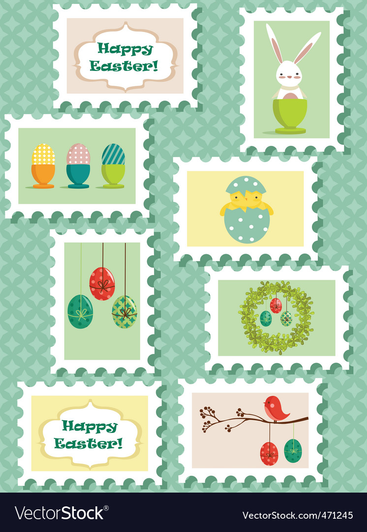 Easter stamps vector | Price: 3 Credit (USD $3)