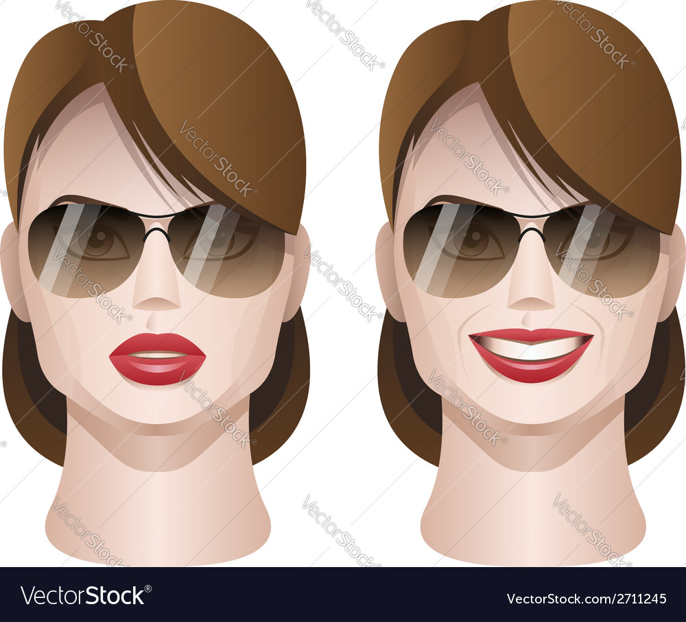Female faces with sunglasses vector | Price: 1 Credit (USD $1)