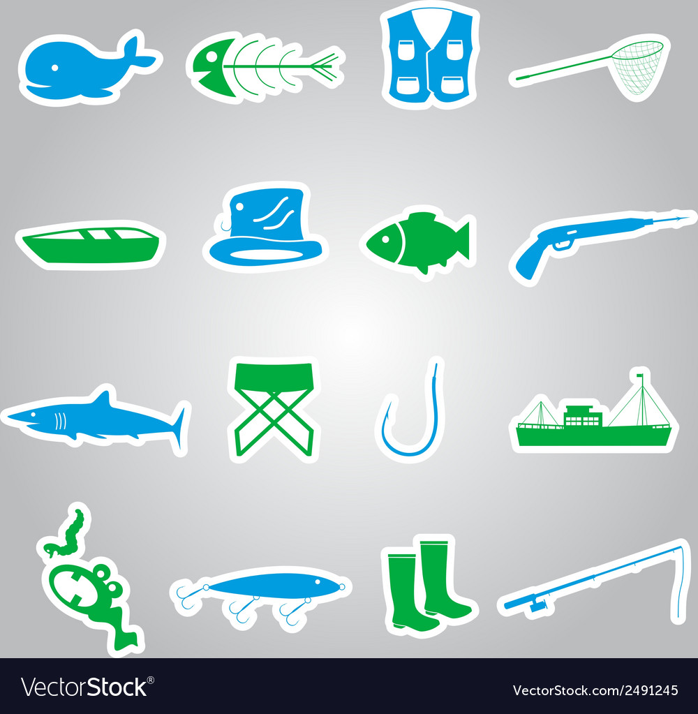 Fishing stickers set eps10 vector | Price: 1 Credit (USD $1)