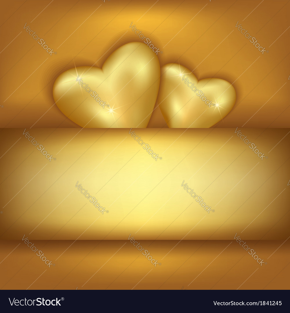 Golden stylish festive background with two hearts vector | Price: 1 Credit (USD $1)