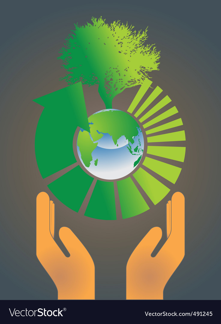 Hand holding earth globe 4 vector | Price: 1 Credit (USD $1)