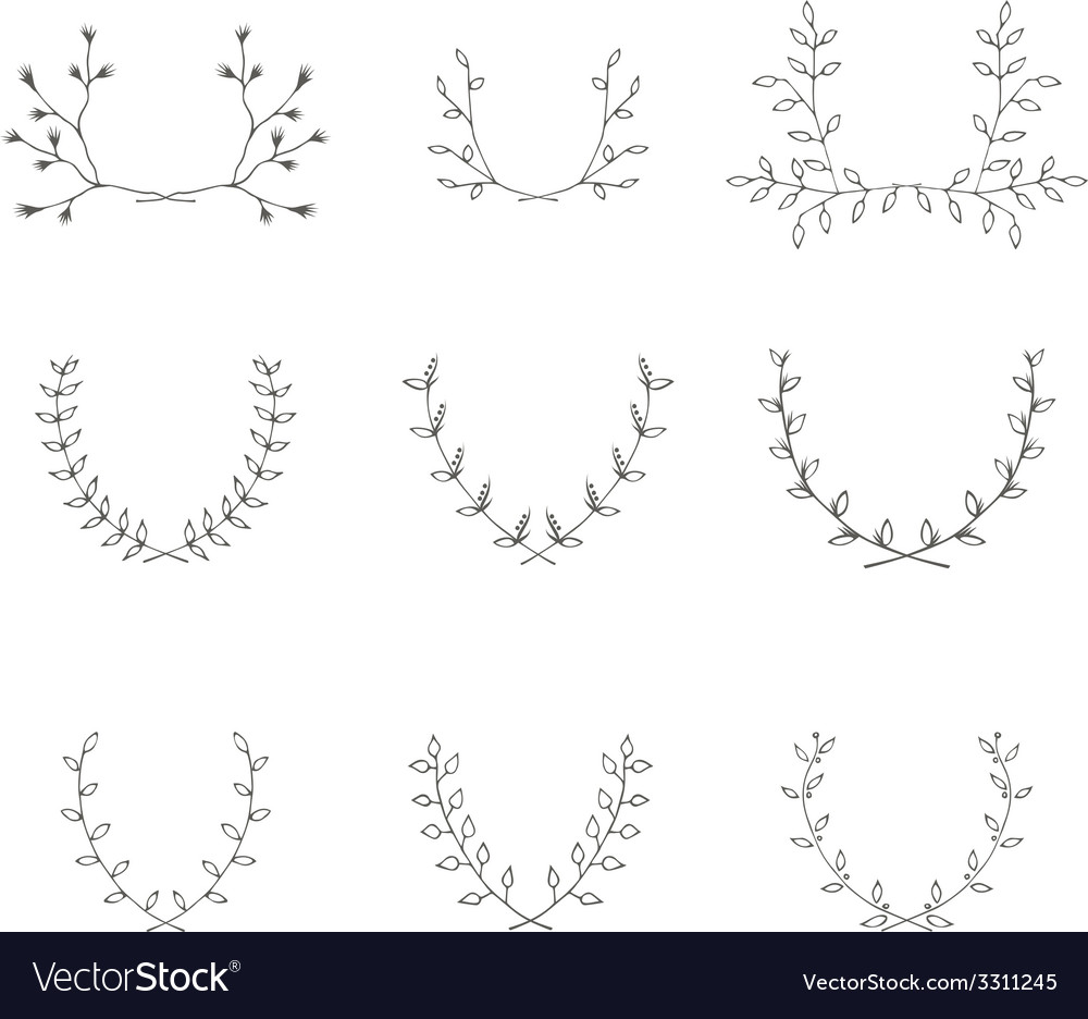 Hand-drawn branches graphic design elements set vector | Price: 1 Credit (USD $1)