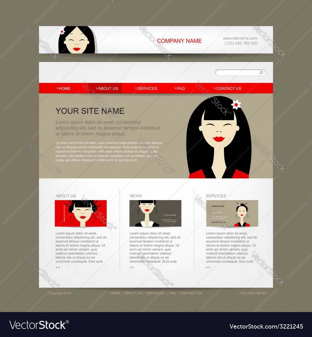 Website design template with asian woman vector | Price: 1 Credit (USD $1)