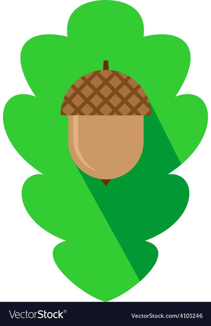 Acorn sign on the oak leaf background flat logo vector | Price: 1 Credit (USD $1)